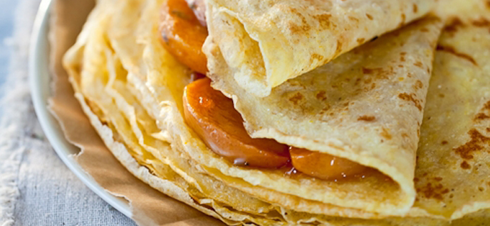 "... Gluten-Free Crêpes with Honey-Lavender-Roasted Persimmons "". Quite"