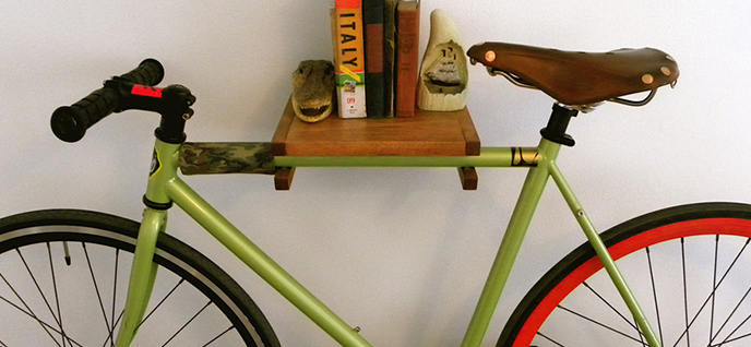 repurposed bike shelves