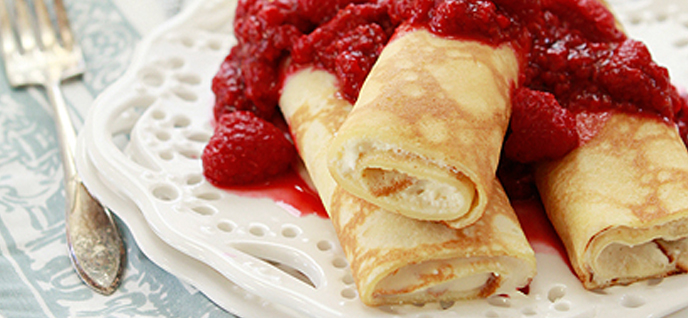 """... Dessert Crêpes with Ricotta and Raspberries """" from Good Life Eats"""