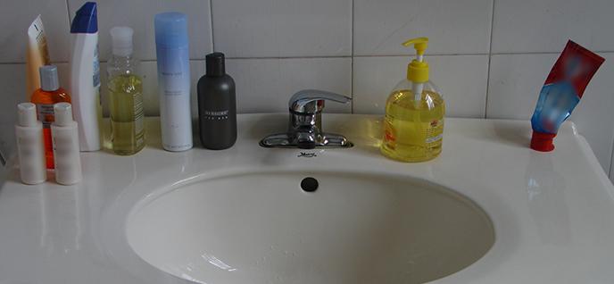 separate bathroom items